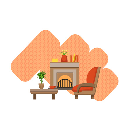 chimney pot: Guest Room Interior Design Flat Cartoon Stylized Vector Illustration