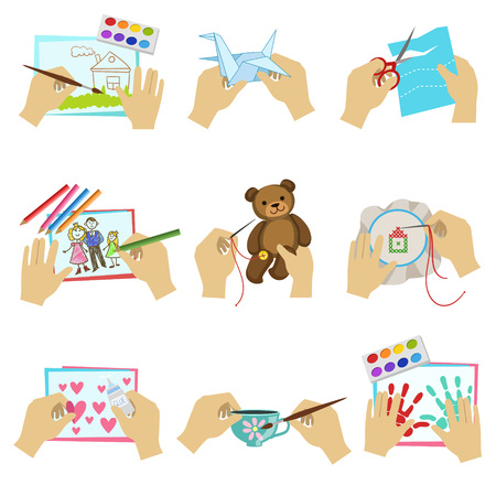 kids painting: Hands Doing Different Crafts Set Of Bright Color Isolated Vector Drawings In Simple Cartoon Design On White Background