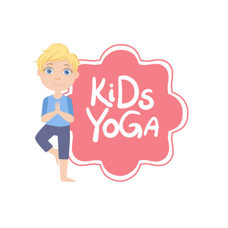 yoga asana tree pose: Boy In Tree Pose With Yoga Kids Logo Bright Color Cartoon Childish Style Flat Vector Drawing On White Background Illustration