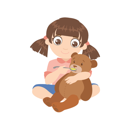 playing with spoon: Girl Feeding A Teddy Bear Colorful Simple Design Vector Drawing Isolated On White Background
