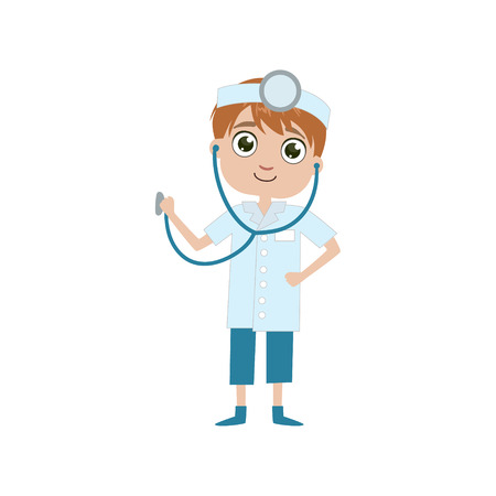 speciality: Boy Future Doctor Simple Design Illustration In Cute Fun Cartoon Style Isolated On White Background