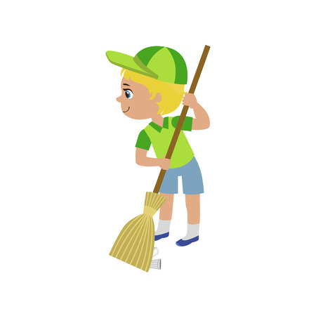 sweeping: Boy Sweeping With Broom Colorful Simple Design Vector Drawing Isolated On White Background