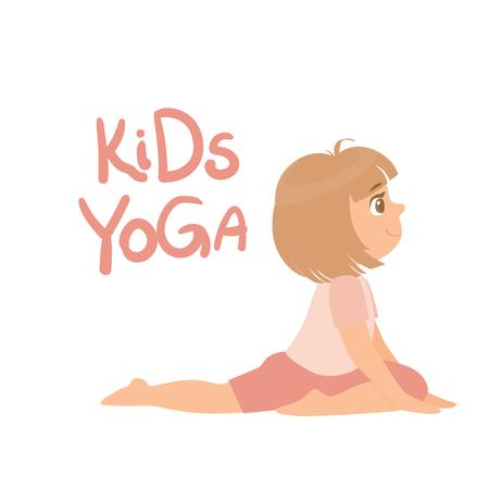 Girl In Yoga Pose With Kids Yoga Bright Color Cartoon Childish Style Flat Vector Drawing On White Background Vector Illustration