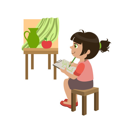 kindergarden: Little Girl Copying The Painting Colorful Simple Design Vector Drawing Isolated On White Background