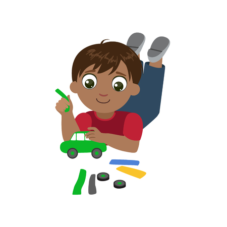 creating: Boy Sculpting A Car Colorful Simple Design Vector Drawing Isolated On White Background Illustration