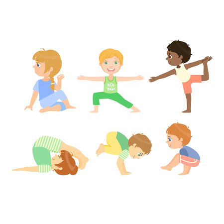 advanced: Kids Doing Advanced Yoga Poses Bright Color Cartoon Childish Style Flat Vector Drawing On White Background
