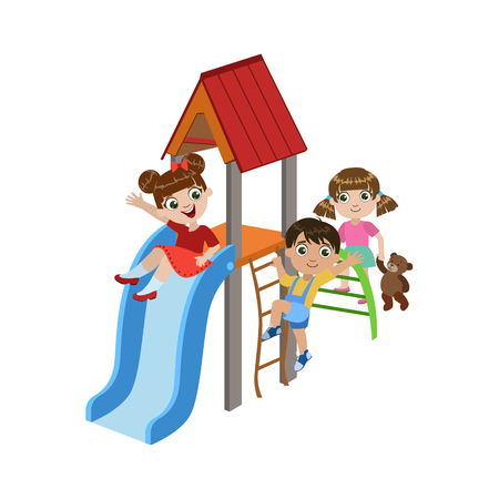 colorful slide: Kids Playing On The Playground Colorful Simple Design Vector Drawing Isolated On White Background