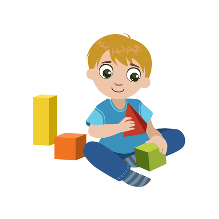 constructing: Boy Playing With Blocks Colorful Simple Design Vector Drawing Isolated On White Background