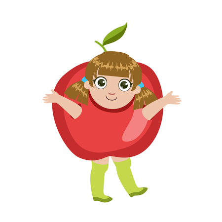 dressed: Girl Dressed As Apple Colorful Simple Design Vector Drawing Isolated On White Background
