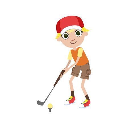 teen golf: Young Golf Player Simple Design Illustration In Cute Fun Cartoon Style Isolated On White Background