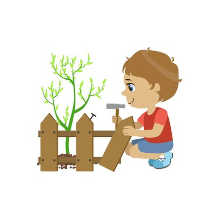 crouching: Boy Fixing The Fence Colorful Simple Design Vector Drawing Isolated On White Background
