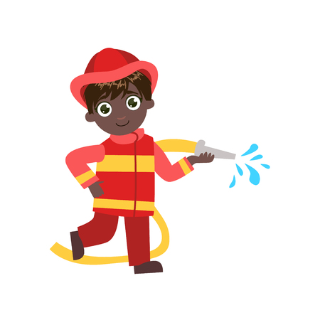 fireman: Boy Future Fireman Simple Design Illustration In Cute Fun Cartoon Style Isolated On White Background Stock Photo