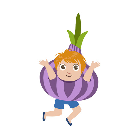 dressed: Boy Dressed As Onion Colorful Simple Design Vector Drawing Isolated On White Background Illustration