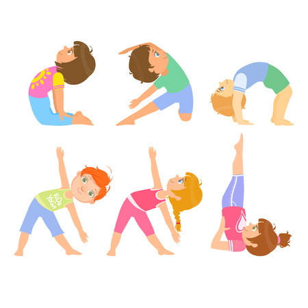physical education: Kids Doing Simple Yoga Poses Bright Color Cartoon Childish Style Flat Vector Drawing On White Background