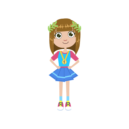 simple girl: Girl Future Champion Simple Design Illustration In Cute Fun Cartoon Style Isolated On White Background Illustration