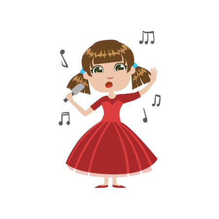 simple girl: Girl Future Singer Simple Design Illustration In Cute Fun Cartoon Style Isolated On White Background Illustration