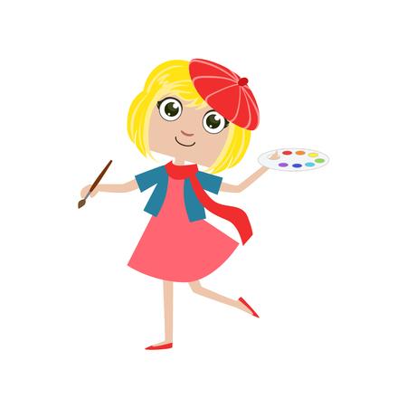 simple girl: Girl Future Artist Simple Design Illustration In Cute Fun Cartoon Style Isolated On White Background Illustration