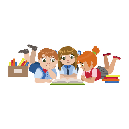 scholar: Kids Laying On The Floor Reading Colorful Simple Design Vector Drawing Isolated On White Background