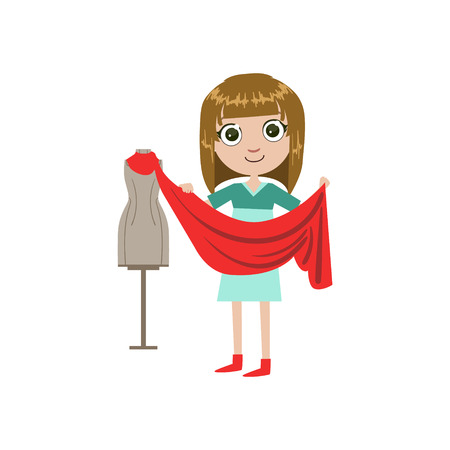 simple girl: Girl Future Fashion Designer Simple Design Illustration In Cute Fun Cartoon Style Isolated On White Background