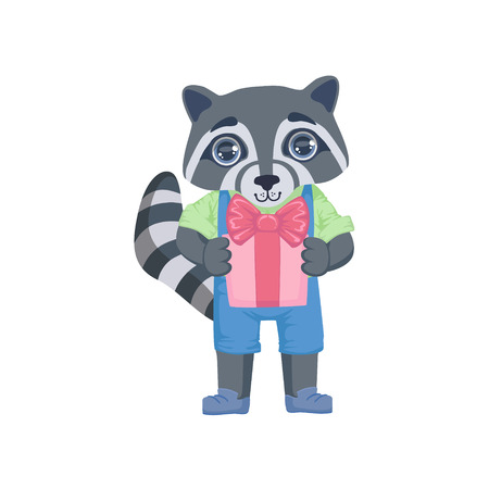 girly: Boy Raccoon With The Present Colorful Illustration In Cute Girly Cartoon Style Isolated On White Background