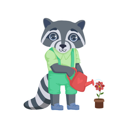 girly: Boy Raccoon Watering The Flower Colorful Illustration In Cute Girly Cartoon Style Isolated On White Background Illustration