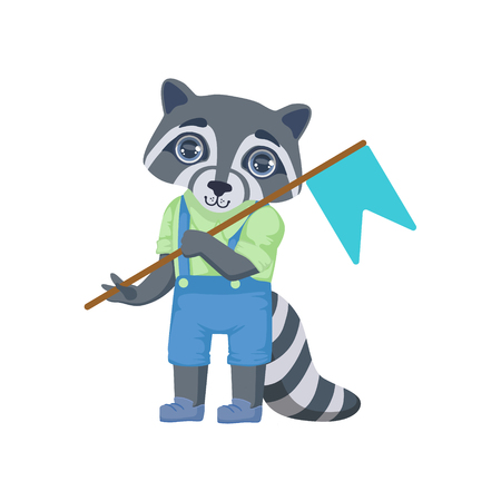girly: Boy Raccoon With Flag Colorful Illustration In Cute Girly Cartoon Style Isolated On White Background