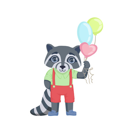 girly: Boy Raccoon With Balloons Colorful Illustration In Cute Girly Cartoon Style Isolated On White Background Illustration