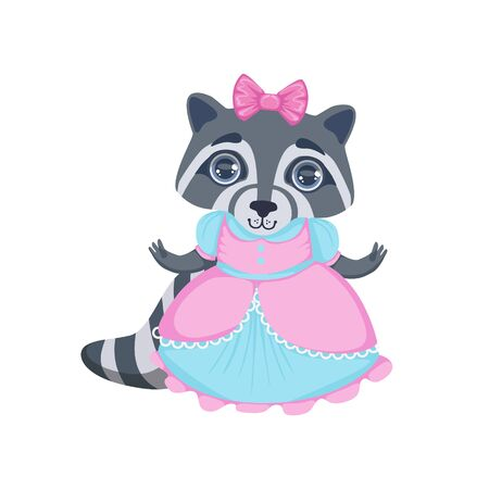 fancy dress: Girl Raccoon In Fancy Dress Colorful Illustration In Cute Girly Cartoon Style Isolated On White Background