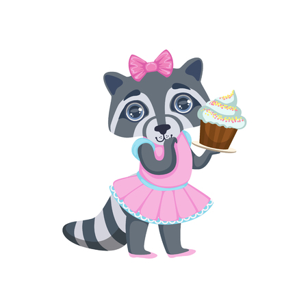 girly: Girl Raccoon With Cupcake Colorful Illustration In Cute Girly Cartoon Style Isolated On White Background