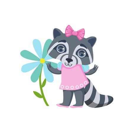Meisje Raccoon Met ReuzeBloem Kleurrijke Illustratie In Cute Girly Style beeldverhaal die op Witte Achtergrond