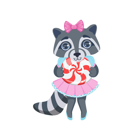 girly: Girl Raccoon With Candy Colorful Illustration In Cute Girly Cartoon Style Isolated On White Background