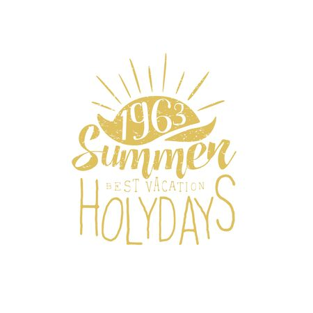 holydays: Summer Holydays Vintage Emblem With Sunset Creative Vector Design Stamp With Text Elements On White Background Illustration