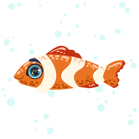 nemo: Coral Fish Bright Color Cartoon Style Vector Illustration Isolated On White Background