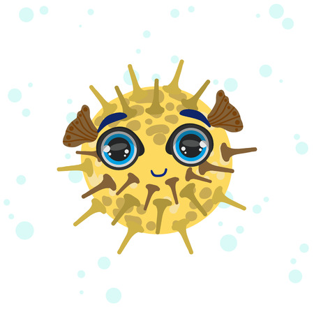 porcupine: Porcupine Fish Bright Color Cartoon Style Vector Illustration Isolated On White Background Illustration