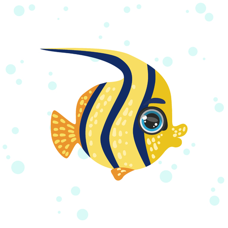 butterfly fish: Butterfly Fish Bright Color Cartoon Style Vector Illustration Isolated On White Background Illustration