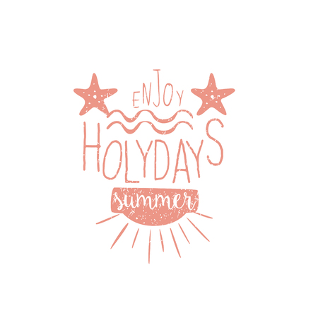 holydays: Summer Holydays Vintage Emblem With Stars Creative Vector Design Stamp With Text Elements On White Background