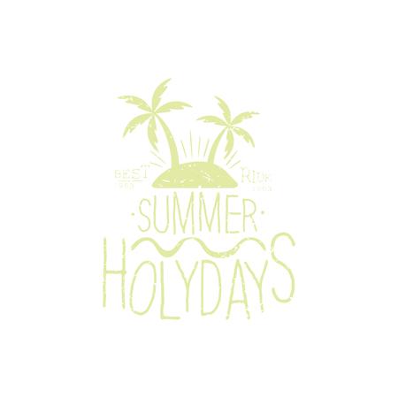 holydays: Summer Holydays Beige Vintage Emblem Creative Vector Design Stamp With Text Elements On White Background