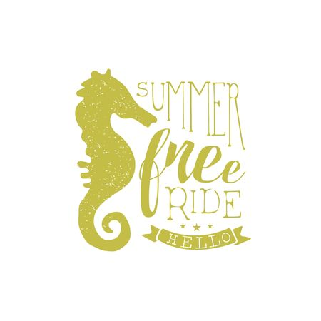 holydays: Summer Holydays Vintage Emblem With Seahorse Creative Vector Design Stamp With Text Elements On White Background