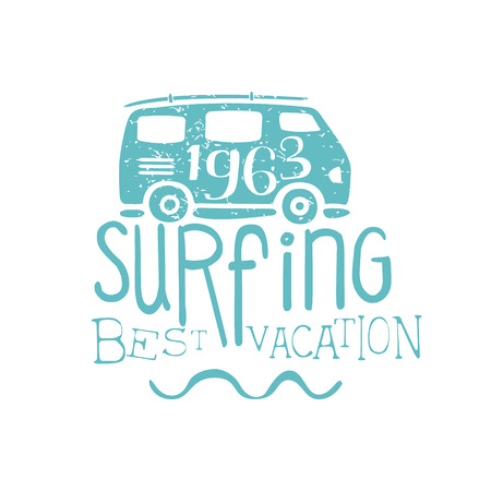 holydays: Summer Holydays Vintage Emblem With Bus Creative Vector Design Stamp With Text Elements On White Background