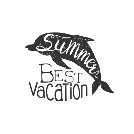 holydays: Summer Holydays Vintage Emblem With Dolphin Creative Vector Design Stamp With Text Elements On White Background