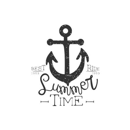 holydays: Summer Holydays Vintage Emblem With Anchor Creative Vector Design Stamp With Text Elements On White Background