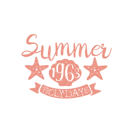 holydays: Summer Holydays Pink Vintage Emblem Creative Vector Design Stamp With Text Elements On White Background