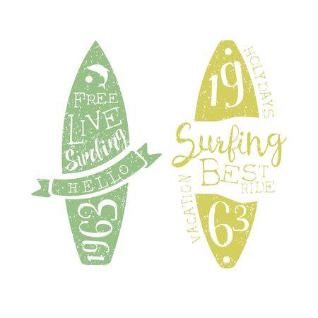 holydays: Summer Holydays Vintage Emblem With Surfboard Creative Vector Design Stamp With Text Elements On White Background Illustration