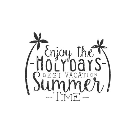 holydays: Summer Holydays Black And White Vintage Emblem Creative Vector Design Stamp With Text Elements On White Background