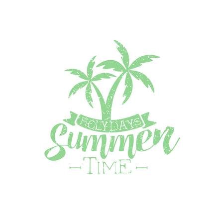 holydays: Summer Holydays Vintage Emblem With Palm Trees Creative Vector Design Stamp With Text Elements On White Background
