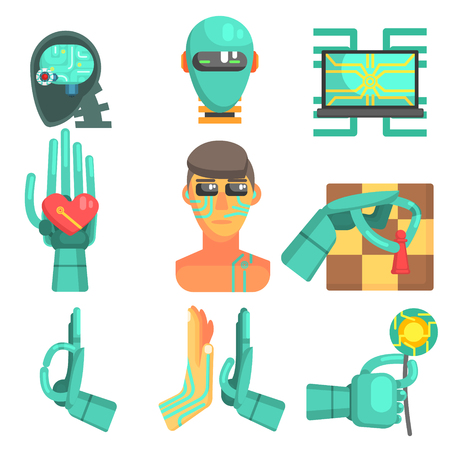 simplified: Artificial Intelligence Set Of Flat Colorful Simplified Graphic Style Icons Isolated On White Background