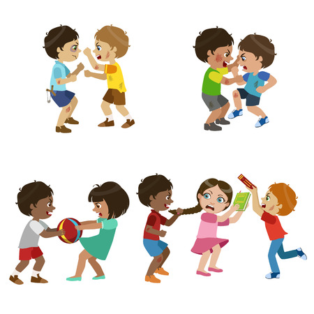 bully: Kids Bullies Childish Cartoon Style Cute Vector Illustration On White Background