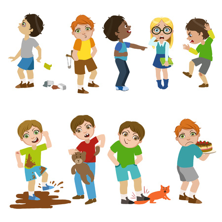Mean Children Childish Cartoon Style Cute Vector Illustration On White Background