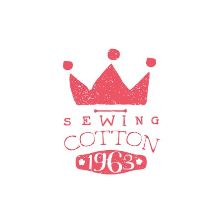 specially: Sewing Cotton Vintage Emblem. Illustration