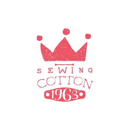 sewing cotton: Sewing Cotton Vintage Emblem. Illustration